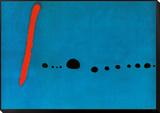 Blå II Indrammet opspændt tryk af Joan Miró