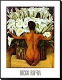 Akt mit Calla-Lilien|Nude with Calla Lilies Framed Print Mount von Diego Rivera