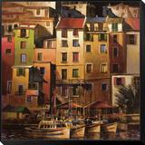Goldenes Mittelmeer Gerahmter, auf Holz aufgezogener Druck von Michael O'Toole