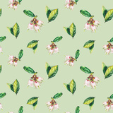 Watercolor Flowers Pattern Green Art by  lenavetka87