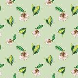 Watercolor Flowers Pattern Green Premium Giclee Print by  lenavetka87