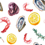 Watercolor Sea Delicacies Pattern Prints by  lenavetka87
