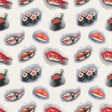 Watercolor Sushi Pattern Posters by  lenavetka87