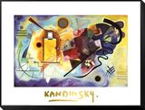 Gelb, rot und blau, ca. 1925 Gerahmter, auf Holz aufgezogener Druck von Wassily Kandinsky