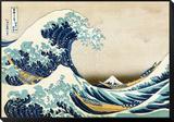 """Die große Welle von Kanagawa (aus der Serie """"36 Ansichten des Berges Fuji""""), ca. 1829 Gerahmter, auf Holz aufgezogener Druck von Katsushika Hokusai"""