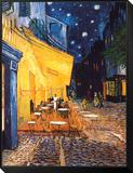 Caféterras bij nacht Ingelijste kunst op hout van Vincent van Gogh