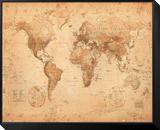 World Map - Antique Zarámovaná reprodukce na desce