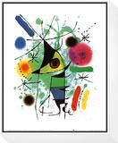 Den syngende fisk  Indrammet opspændt tryk af Joan Miró