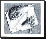 Mains dessinant Reproduction montée et encadrée par M. C. Escher
