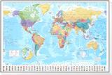 Weltkarte Gerahmter, auf Holz aufgezogener Druck