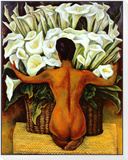 Nude with Calla Lilies Framed Print Mount by Diego Rivera