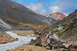 National Park Landmannalaugar in Iceland. the Green Stone Rock and Stream in the Gorge Photographic Print by  kavram
