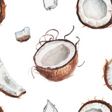 Watercolor Coconut Pattern Posters by  lenavetka87