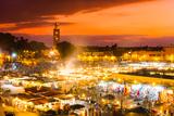 Jamaa El Fna, Marrakesh, Morocco. Fotografisk tryk af  kasto