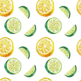 Watercolor Citrus Pattern Poster by  lenavetka87