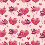 Watercolor Hearts and Rose Pattern Print by  lenavetka87