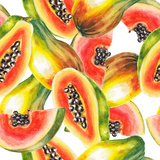 Watercolor Papaya Pattern Prints by  lenavetka87