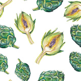 Watercolor Artichoke Pattern Posters by  lenavetka87