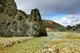 Green Rock and Creek in the Gorge. National Park Landmannalaugar in Iceland Photographic Print by  kavram