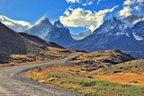 Midday Landscape in the National Park Torres Del Paine; Chile. the Gravel Road is Bent between Yell Photographic Print by  kavram