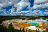 Grand Prismatic Pool at Yellowstone National Park with Blue Sky and Puffy Clouds Photographic Print by  eric1513