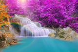 Wonderful Waterfall with Rainbows in Deep Forest at National Par Photographic Print by  casanowe