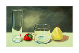 Still Life, Pear and Strawberry with Glasses Prints by  clivewa