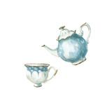 Watercolor Tea Set Art by  lenavetka87