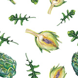 Watercolor Artichoke and Rucola Pattern Prints by  lenavetka87