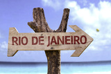 Rio De Janeiro Sign with a Beach on Background Photographic Print by  gustavofrazao