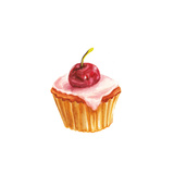 Watercolor Cherry Cake Print by  lenavetka87