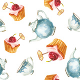 Watercolor Cake and Tea Set Premium Giclee Print by  lenavetka87