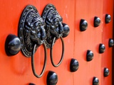 Traditional Chinese Decorated with Door Knockers in Taiwan Photographic Print by  david734244
