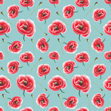 Watercolor Poppy Pattern Posters by  lenavetka87
