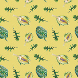 Watercolor Artichoke and Rucola Pattern Posters by  lenavetka87