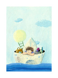 Little Boy Sailing in a Paper Boat Posters by  andreapetrlik