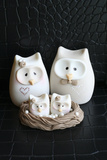 Owl Family Taupe Photographic Print