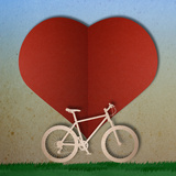 Bike Love Heart Papper Cut Print by  happysunstock