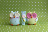 Owls and Tiny Boy Bunny Photographic Print