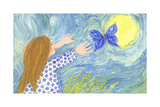 Girl Chasing Butterfly Prints by  andreapetrlik