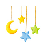 Baby Crib Hanging Mobile Toy - Moon and Stars Prints by  andreapetrlik