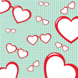 Heart Shaped Sunglasses on Background with Dots Prints by  fify