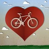 Bike Love Heart Papper Cut Prints by  happysunstock
