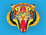 Tiger Head with Geometric Style Affiches par  happysunstock