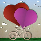 Bike Love Heart Papper Cut Posters by  happysunstock