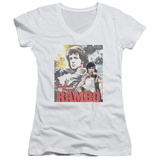 Juniors: Rambo First Blood - They Drew Collage V-Neck T-Shirt
