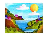 Isole Con Case Colorate Plakat autor goccedicolore