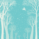 Background Image of a Winter Forest Prints by  polinina