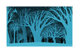 The Background Image of the Mysterious Night of the Winter Fores Prints by  polinina