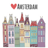Amsterdam Cute Houses Town City Street Premium Giclee Print by  redchocolatte